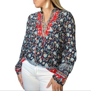Weekend Paisley Boho Blue Red Blouse Size small